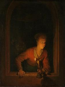 Girl with an Oil Lamp at a Window, 1645-75 by Gerrit or Gerard Dou