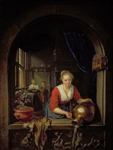 Maid Servant at a Window by Gerrit or Gerard Dou