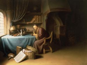 Old Man Lighting His Pipe in a Study by Gerrit or Gerard Dou