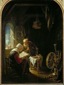 The Bible Lesson, or Anne and Tobias by Gerrit or Gerard Dou