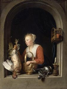 The Dutch Housewife Or, the Woman Hanging a Cockerel in the Window, 1650 by Gerrit or Gerard Dou