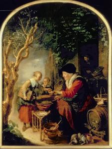 The Pancake Seller, 1650-55 (Oil on Panel) by Gerrit or Gerard Dou