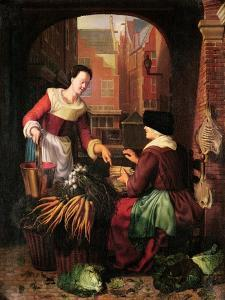 The Vegetable Seller by Gerrit or Gerard Dou