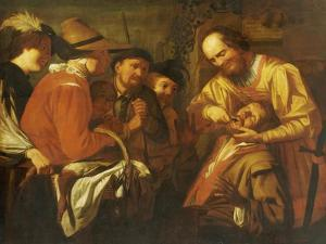 A Quack Dentist Extracting a Tooth, While a Group of Onlookers Watch Nearby by Gerrit Van Honthorst