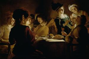 Feast with a Lute Player, c.1620 by Gerrit van Honthorst