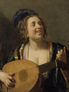 Femme accordant un luth by Gerrit Van Honthorst