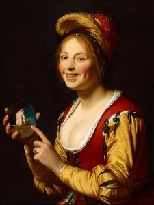 Smiling Girl, a Courtesan, Holding an Obscene Image, 1625 by Gerrit van Honthorst