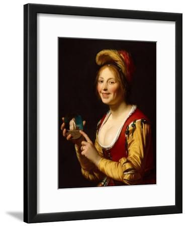 Smiling Girl, a Courtesan, Holding an Obscene Image, 1625