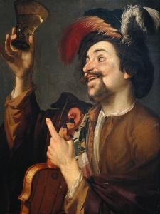 Violin Player with Glass of Wine by Gerrit van Honthorst
