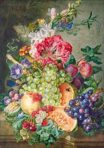 Still Life with Fruit and Flowers by Gerrit Van Leeuwen