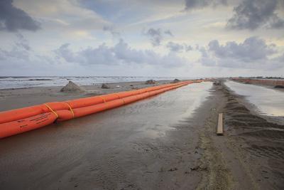 Slickbar Oil Booms on the Beach at Grand Isle