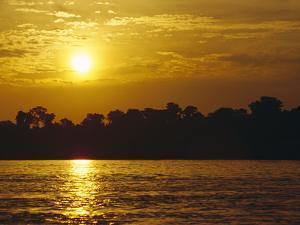 Sunset over Lowland Tropical Rainforest Along Amazon River, Amazon Basin, Brazil by Gerry Ellis