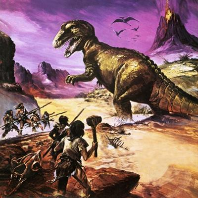 Cavemen, Dinosaur and Volcano - for an Article About Special Effects