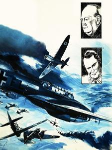 Spitfires in a Dogfight with German Messerschmitts by Gerry Wood