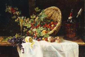 Cherries and Gooseberries in a Basket, 1859 by Gertrud Trefftz