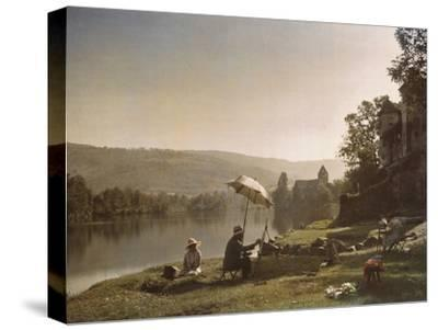 Autochrome of artists painting on the banks of the Dordogne River