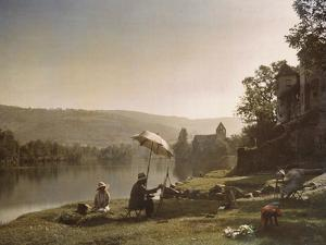 Autochrome of artists painting on the banks of the Dordogne River by Gervais Courtellemont