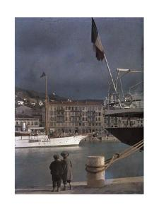 Two Boys Watch the Boats in the Port at Nice by Gervais Courtellemont