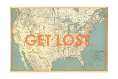 Get Lost - 1933 United States of America Map-National Geographic Maps-Giclee Print