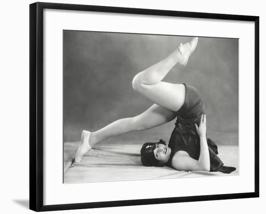 Getting into the Yoga Plow Pose--Framed Photo