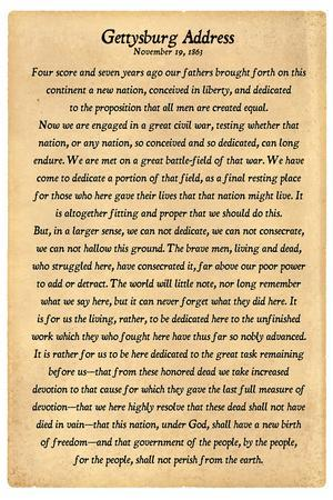 graphic about Gettysburg Address Printable named Gettysburg Protect Entire Words Artwork Print by means of