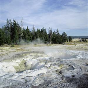 Geyser steaming, Yellowstone National Park, Wyoming, USA