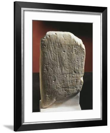 Gezer Calendar, Stone with Ancient Hebrew Inscription Dedicated to Agricultural Calendar--Framed Giclee Print