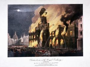 Destruction of the Royal Exchange (2N) Fire, London, 1838 by GF Bragg
