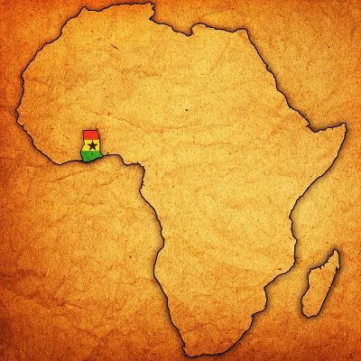 Ghana on Actual Map of Africa-michal812-Art Print