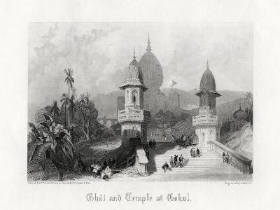 Ghat and Temple at Gokul, India, C1838-R Wallis-Giclee Print