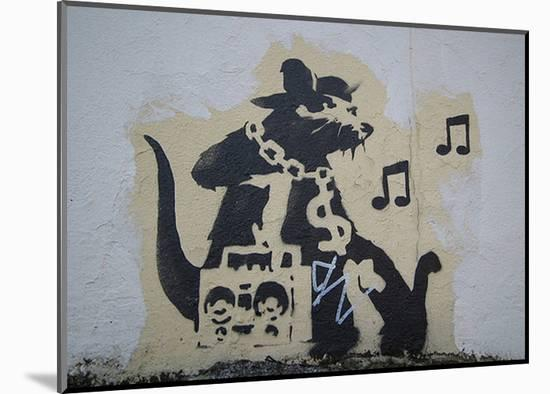 Ghetto Blaster Rat-Banksy-Mounted Art Print