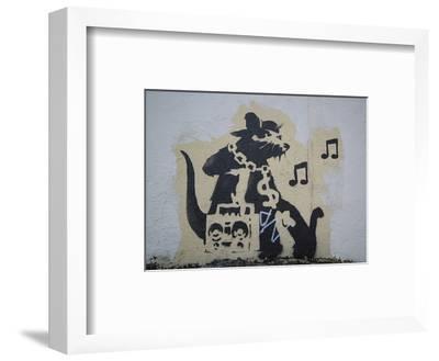 Ghetto Blaster Rat-Banksy-Framed Giclee Print