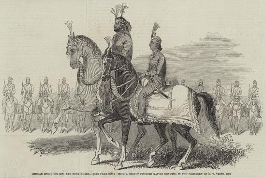 Gholab Singh, His Son, and Body Guard-Godfrey Thomas Vigne-Giclee Print