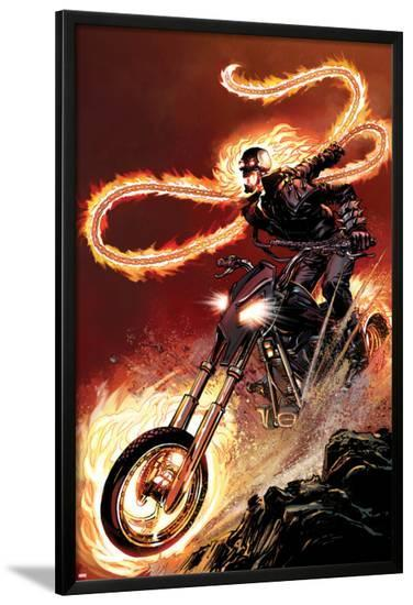 Ghost Rider No.1: Ghost Rider Flaming and Riding a Motorcycle-Matthew Clark-Lamina Framed Poster
