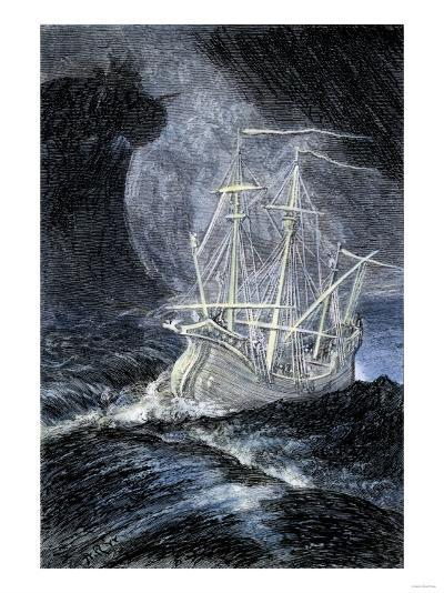 Ghost-Ship in a Storm--Giclee Print