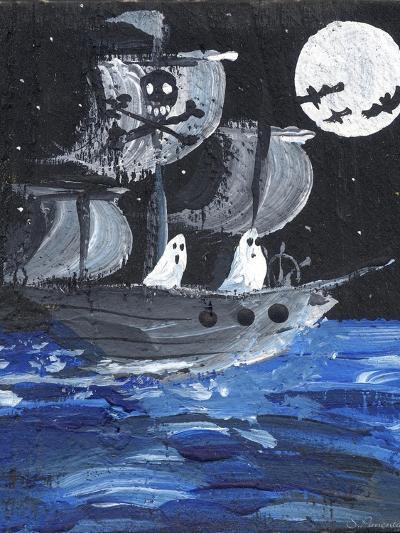 Ghost Ship Skull & Cross Bones Halloween-sylvia pimental-Art Print