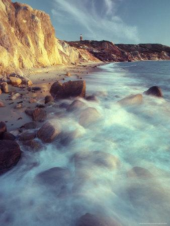 Ghostly Surf on Rocky Beach at Gay Head Point-Michael Melford-Photographic Print