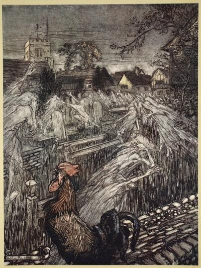 ..Ghosts, Wandering Here and There, Troop Home to Churchyards-Arthur Rackham-Giclee Print