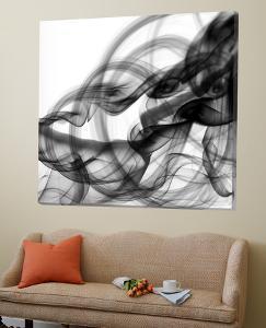 White Smoke Abstract Square by GI ArtLab