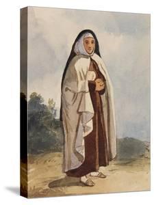 A Nun, with Additions by Princess Maria Annunziata Di Borbone (1843-1871) by Giacinto Gigante