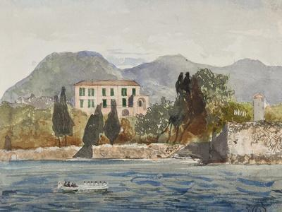 Rowing Barge with the Borbone Flag Approaching a Large House on the Neapolitan Coast
