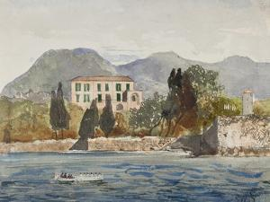 Rowing Barge with the Borbone Flag Approaching a Large House on the Neapolitan Coast by Giacinto Gigante