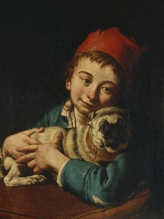 A Boy, Half Length, in a Blue Jacket and a Red Hat, Holding a Pug on a Cushion