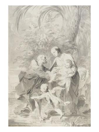 La fuite en Egypte ; Joseph prend l'enfant des bras de la Vierge