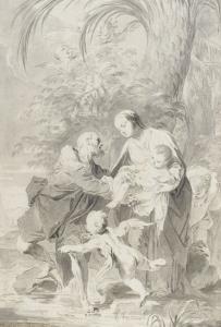 La fuite en Egypte ; Joseph prend l'enfant des bras de la Vierge by Giambettino Cignaroli