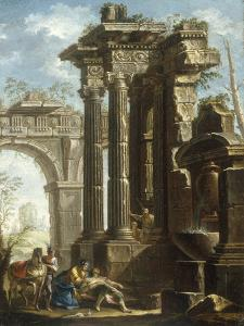 Capriccio of Classical Ruins with the Death of St Francis Xavier by Gian Paolo Panini