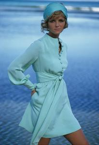 Model Cheryl Tiegs on Beach Wearing Light Green Acetate and Rayon Dress by Stan Herman for Mr. Mort by Gianni Penati