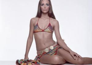 Model Wearing a Colorful Crocheted Allen and Cole Bikini with Tassels by Gianni Penati