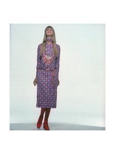 Model Wearing Red and White Print on Violet Jersey Dress by Gregory by Gianni Penati