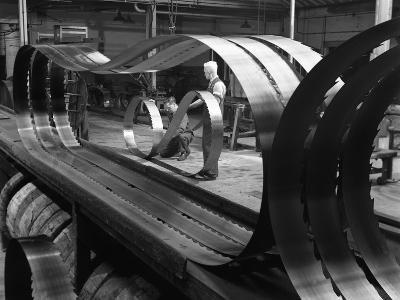 Giant Bandsaw Blades, Slack Sellers and Co, Sheffield, South Yorkshire, 1963-Michael Walters-Photographic Print